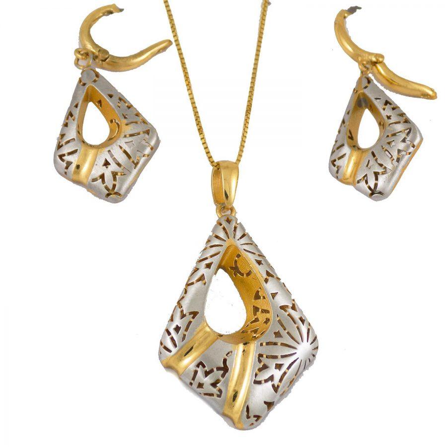 نیم ست زنانه نقره طرح طلا ma-n112 از نمای روبرو