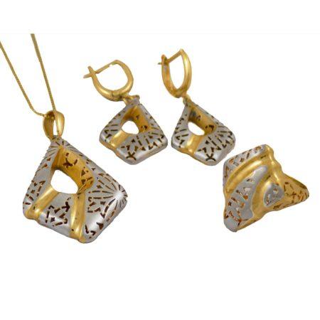 نیم ست زنانه نقره طرح طلا ma-n112 از نمای سفید