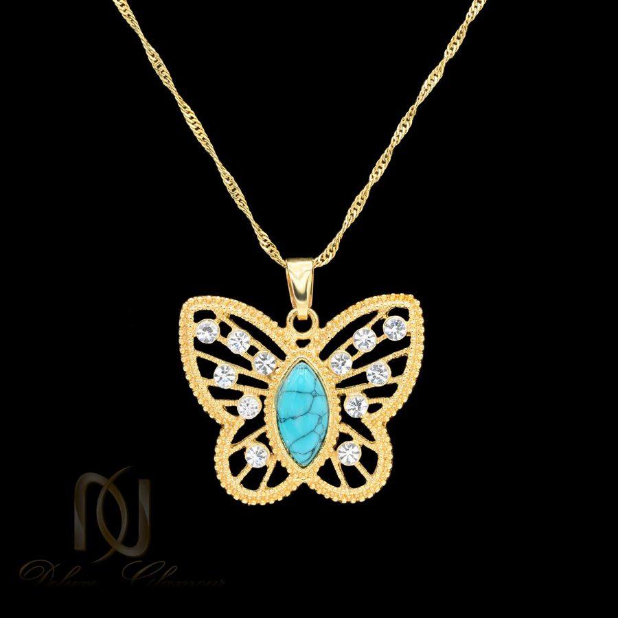 گردنبند زنانه طرح پروانه NW-N579 از نمای مشکی