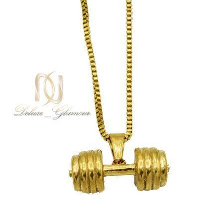 گردنبند طرح دمبل طلایی nw-n561 از نمای سفید