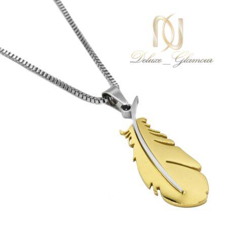 گردنبند مردانه طرح پر طلایی NW-N584 از نمای سفید