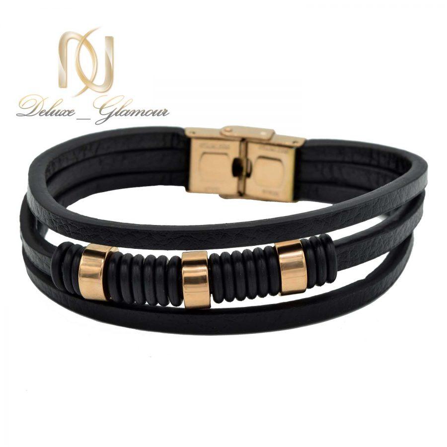 دستبند چرم مردانه سه ردیفه ds-n524 از نمای روبرو