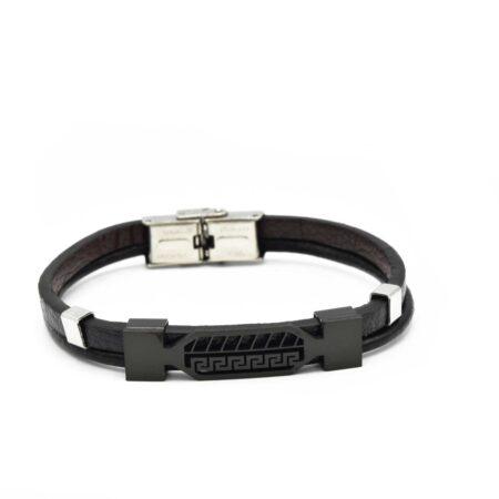 دستبند چرم مردانه طرح ورساچه DS-N527 از نمای سفید