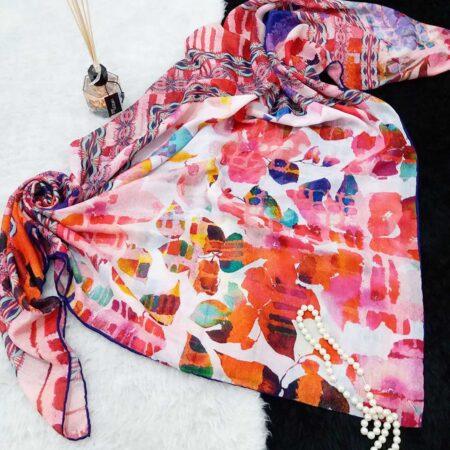 روسری نخی قواره بزرگ دور دوخت sr-n375 ازنمای بالا