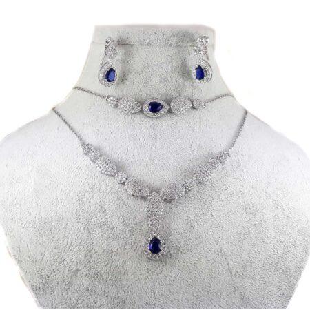 سرویس نقره جواهری طرح اشک ma-n125 از نمای سفید