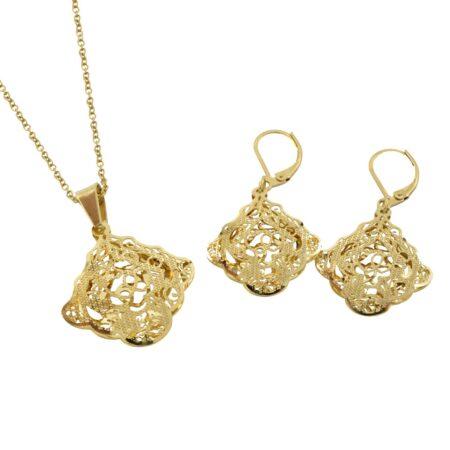 نیم ست زنانه طرح طلای استیل ns-n484 از نمای سفید