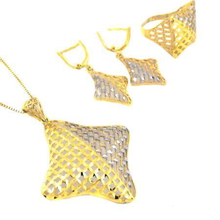 نیم ست نقره زنانه طرح طلا ma-n133 از نمای سفید
