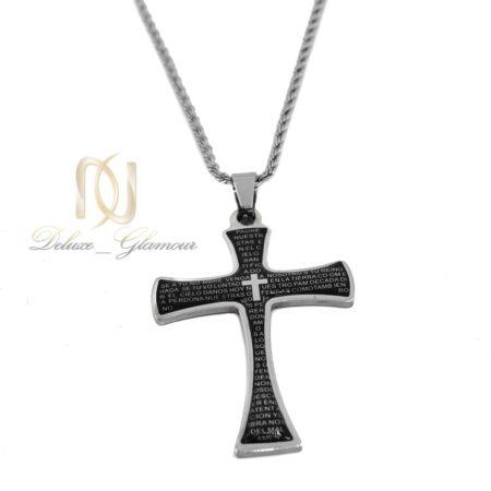 گردنبند آویز طرح صلیب مردانه nw-n606 از نمای روبرو