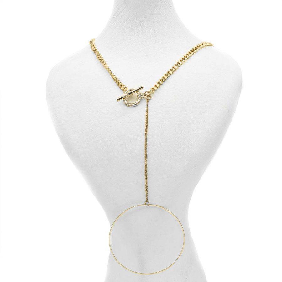 گردنبند رومانتویی زنانه طلایی nw-n588 از نمای روبرو