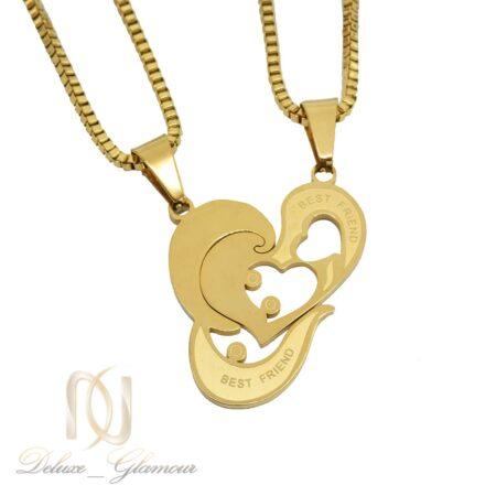 گردنبند ست دوتکه طرح قلب طلایی nw-n608 از نمای سفید