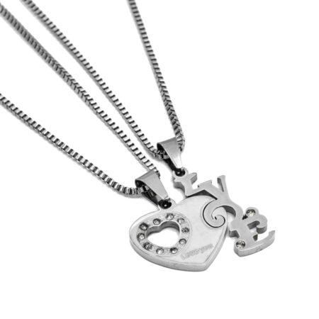 گردنبند ست عاشقانه طرح لاو nw-n601 از نمای سفید