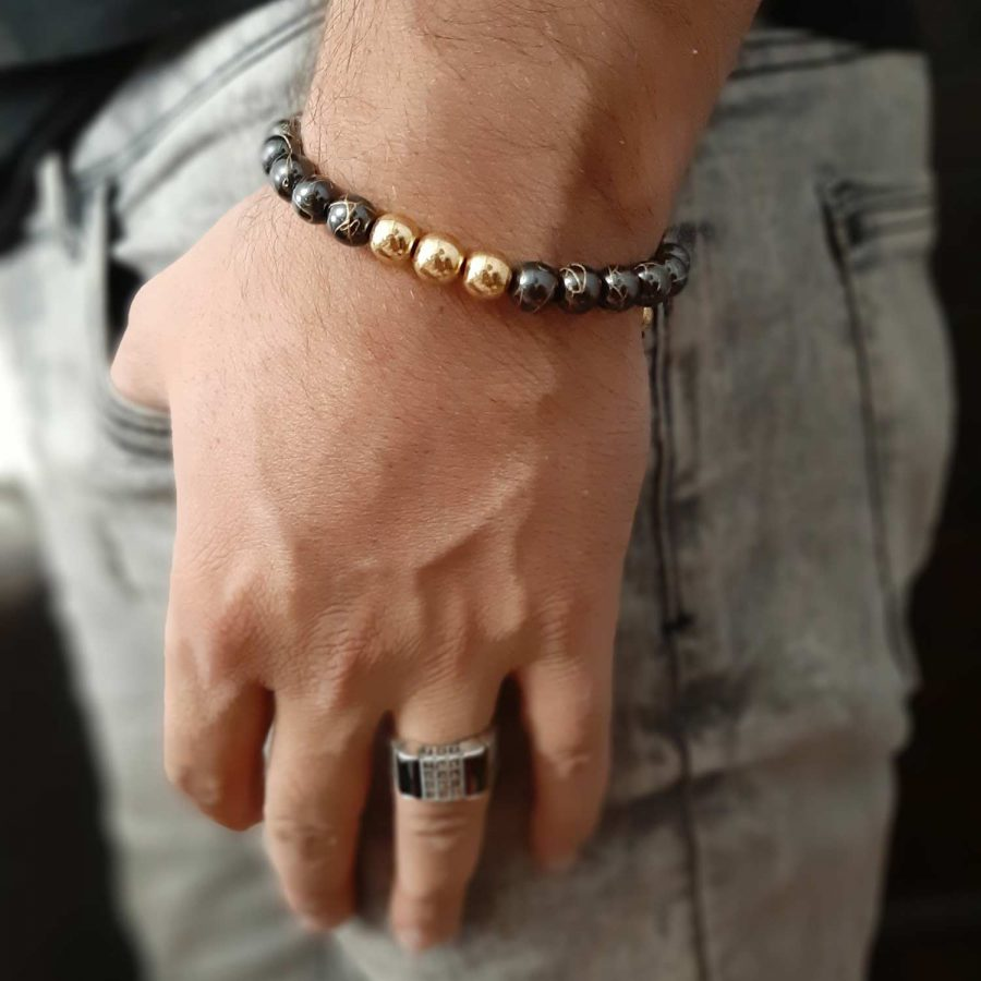 دستبند اسپرت مردانه سنگ حدید ds-n530
