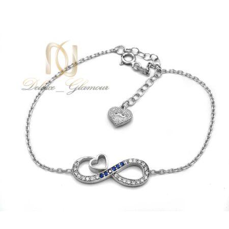 دستبند دخترانه نقره طرح بی نهایت ds-n533