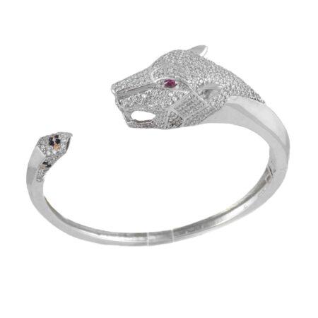 دستبند نقره زنانه طرح پلنگ ma-n140