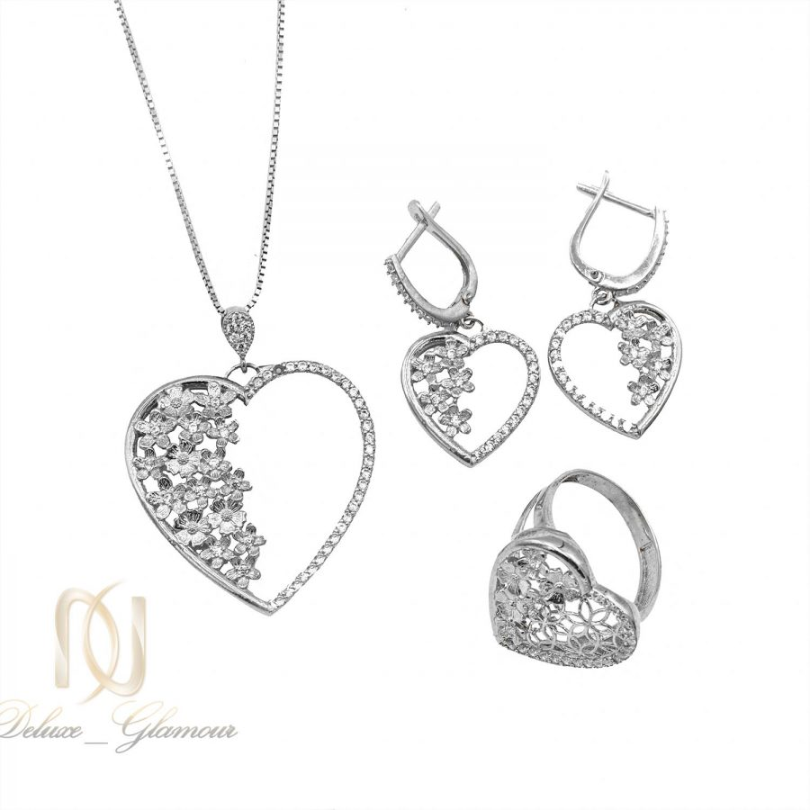 نیم ست نقره زنانه طرح قلب ns n492 | نیم ست نقره زنانه طرح قلب ns-n492