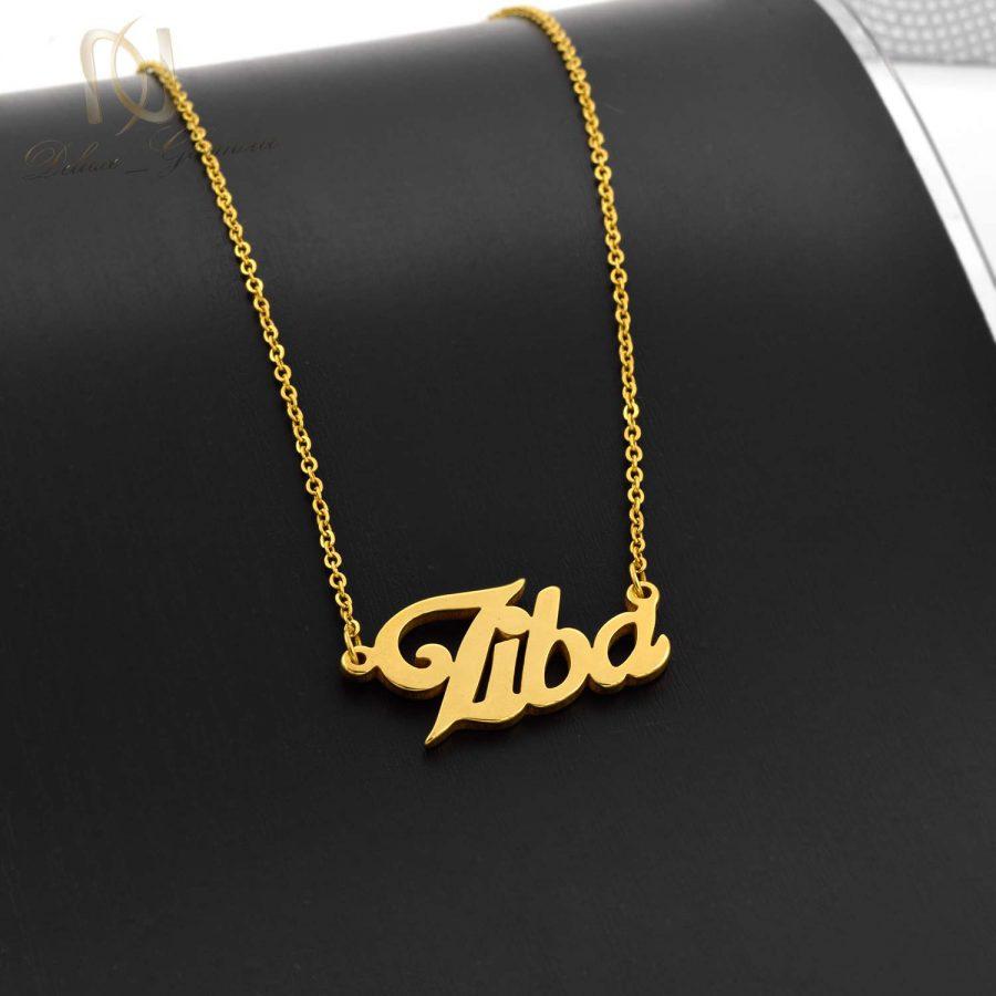 گردنبند اسم لاتین ziba طلایی nw-n610 از نمای مشکی