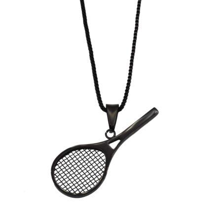 گردنبند راکت تنیس مشکی استیل nw-n625