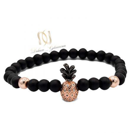 دستبند دخترانه سنگی طرح آناناس ds-n556 از نمای سفید