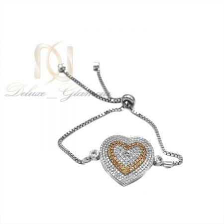 دستبند دخترانه طرح قلب نگین دار ds-n552 از نمای سفید