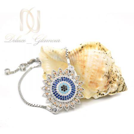 دستبند نقره طرح پرتو دخترانه ds-n554 از نمای سفید