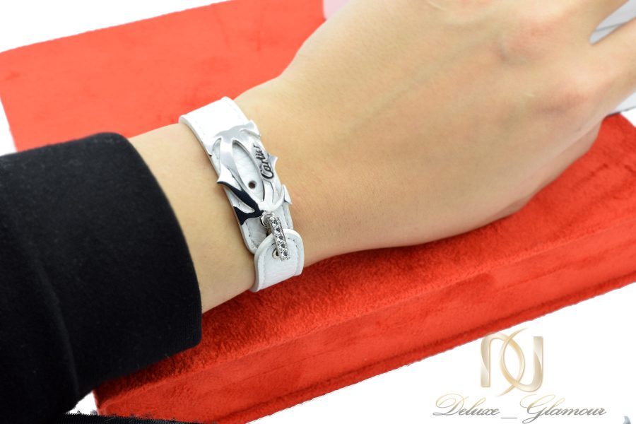 دستبند چرم دخترانه سفید ds-n547
