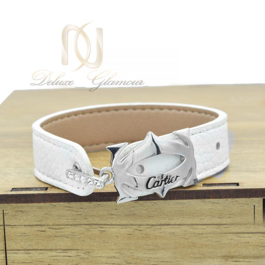 دستبند چرم دخترانه سفید ds-n547 از نمای روبرو