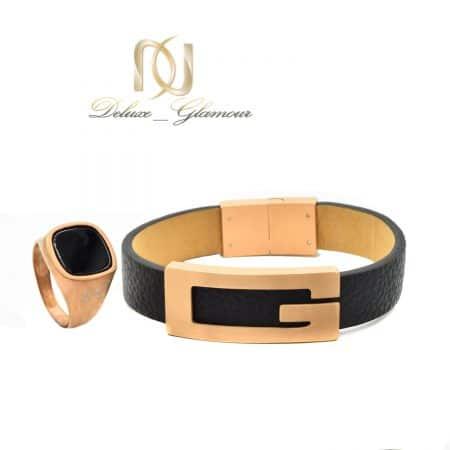 ست انگشتر و دستبند چرمی مردانه ns-n507 از نمای سفید