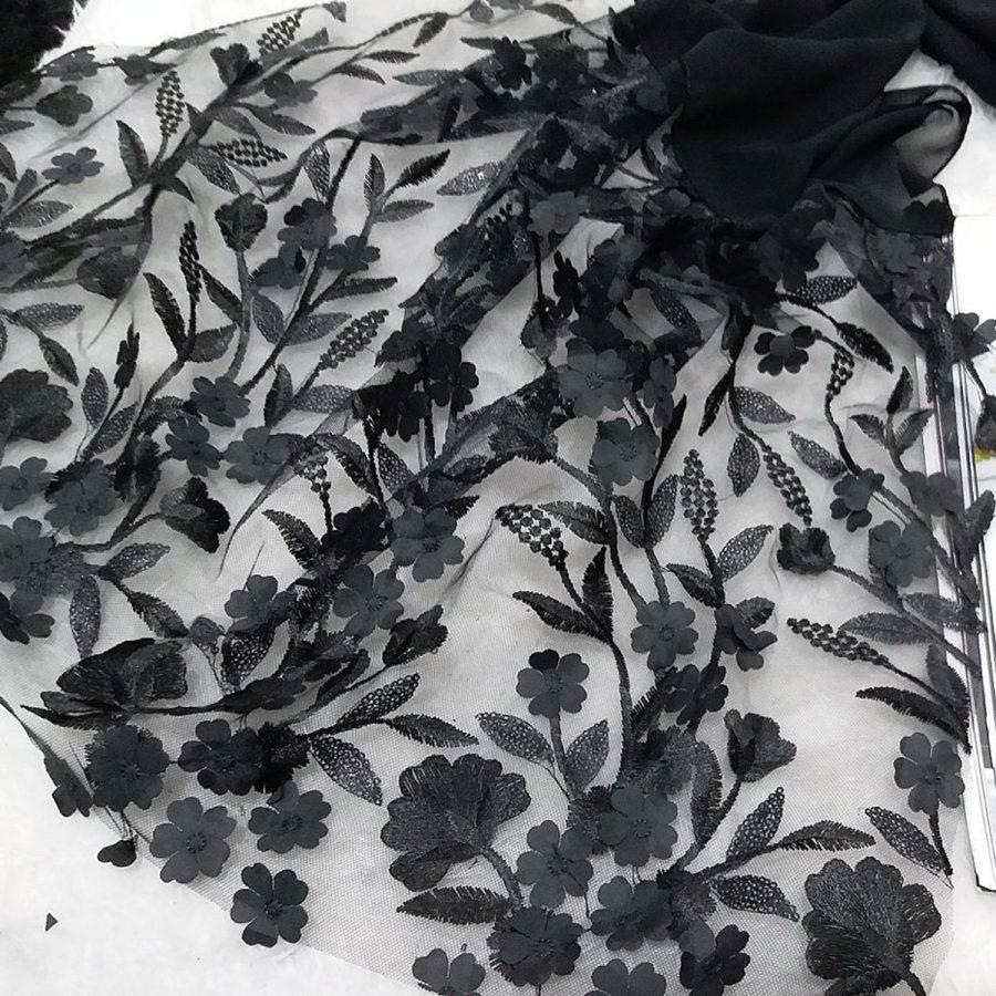 شال حریر گل برجسته sr-n487