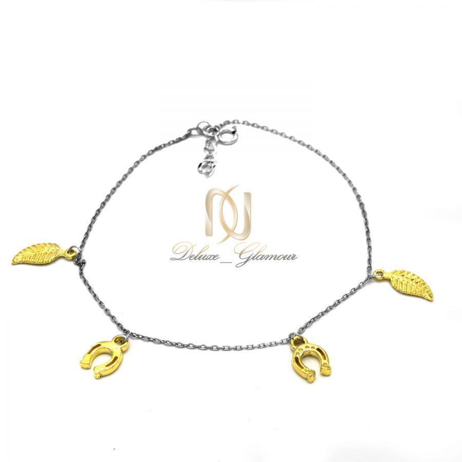 پابند نقره آویزدار طرح طلا pa-n143 از نمای سفید