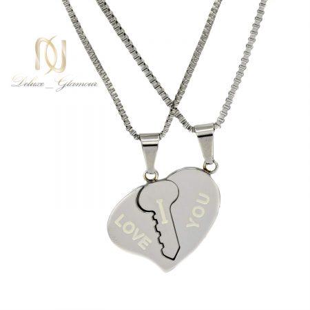 گردنبند ست دو نفره طرح قلب و کلید nw-n641 از نمای سفید