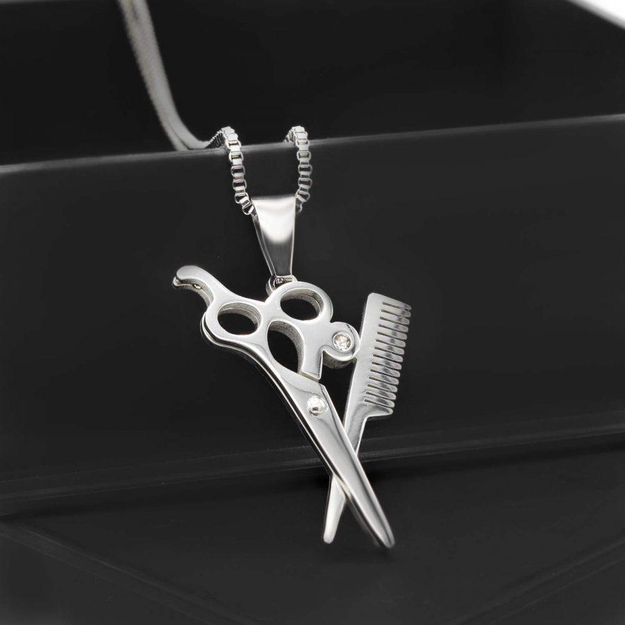 گردنبند قیچی وشانه آرایشگری استیل nw-n629