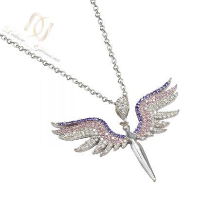 گردنبند نقره دخترانه طرح فرشته nw-n638 از نمای سفید