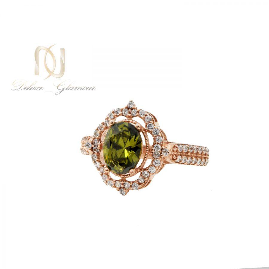 انگشتر زنانه نقره نگین سبز rg-n477 از نمای پایین