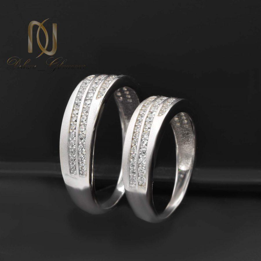 حلقه ست ازدواج نقره طرح طلا rg-n480 از نمای مشکی