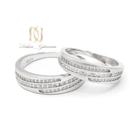 حلقه ست ازدواج نقره طرح طلا rg-n480 از نمای سفید