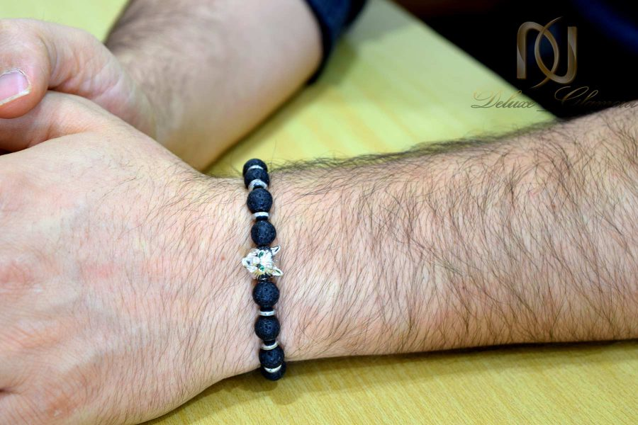 دستبند مردانه سنگی طرح گرگ ds-n565