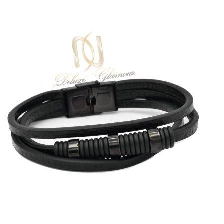 دستبند مردانه چرم اسپرت مشکی ds-n572