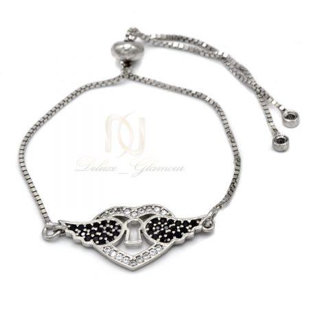 دستبند نقره طرح قلب و بال دخترانه ds-n560 از نمای سفید