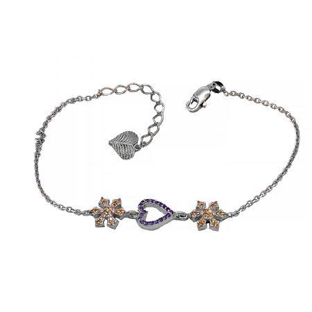 دستبند نقره ظریف دخترانه ma-n425 از نمای سفید