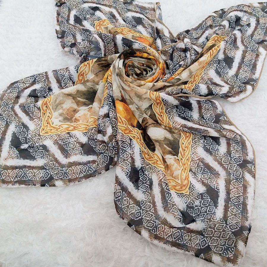 روسری حریر کرپ طرح آفتابگردان sr-n551