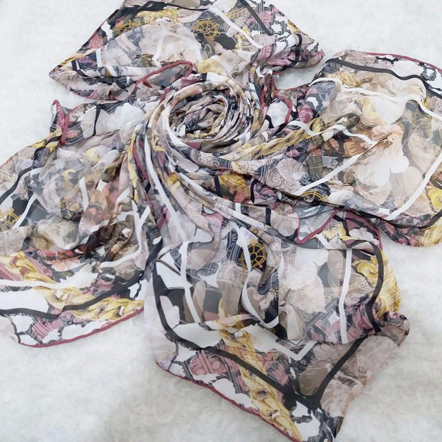 روسری حریر کرپ طرح مدرن دست دوز sr-n559
