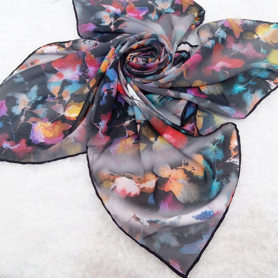روسری حریر کرپ طرح گلدار آبرنگی sr-n552