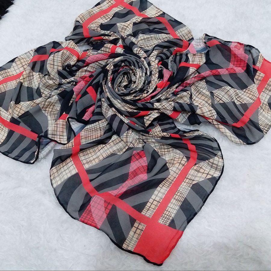 روسری حریر کرپ هاشور نارنجی sr-n557