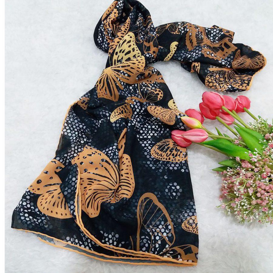 روسری حریر کرپ پروانه ای sr-n554