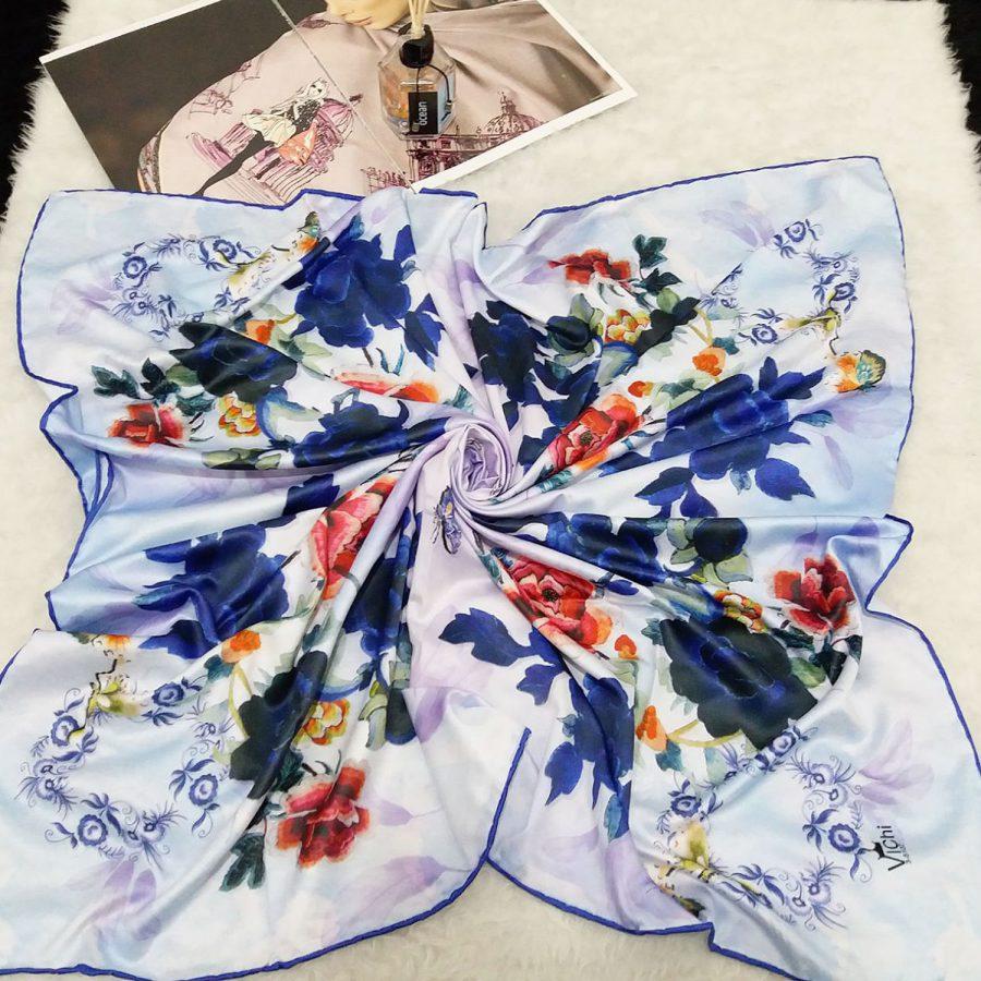 روسری ساتن ابریشم گلدار sr-n520