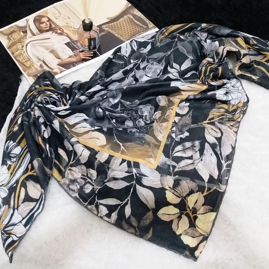 روسری نخی دست دوز طرح برگ sr-n522