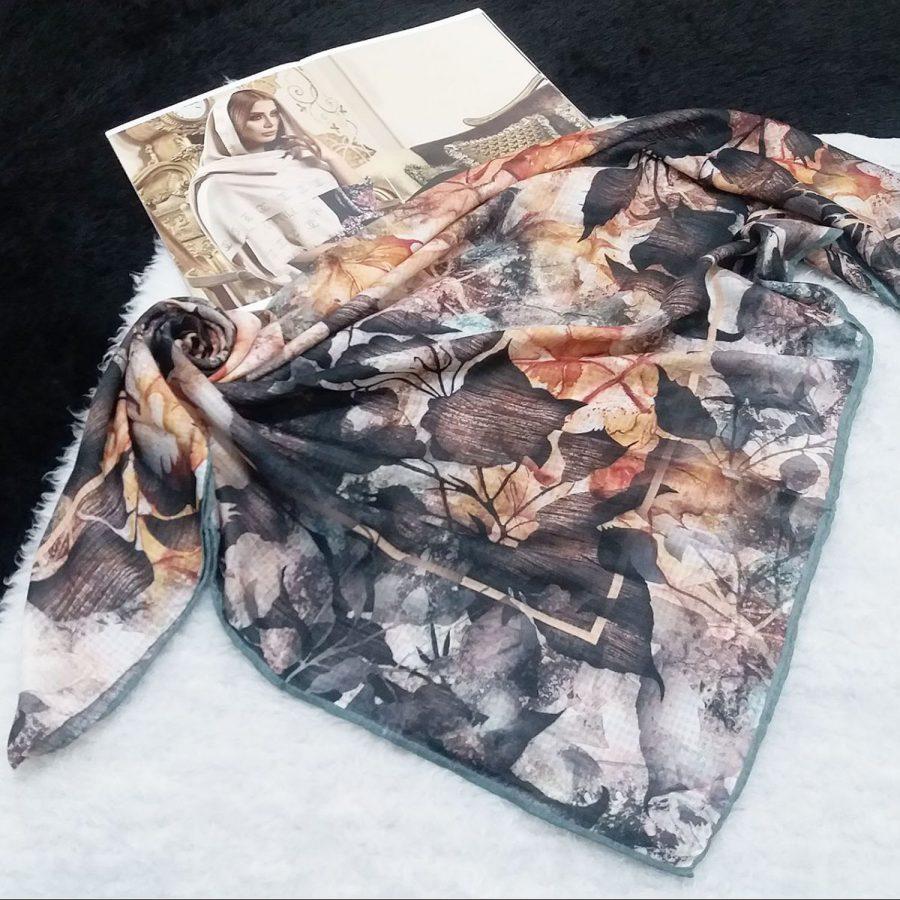 روسری نخی طرح گل و برگ sr-n570