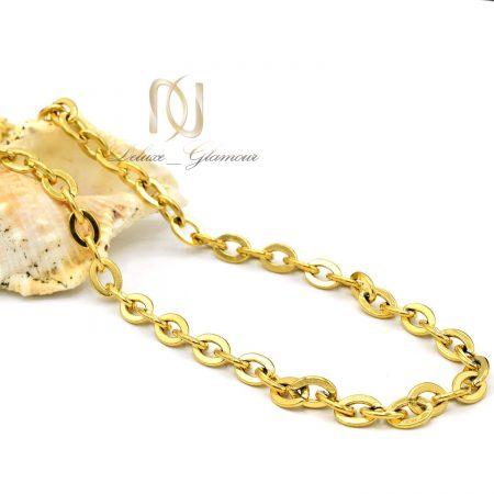 زنجیر مردانه استیل طلایی nw-n644 از نمای سفید