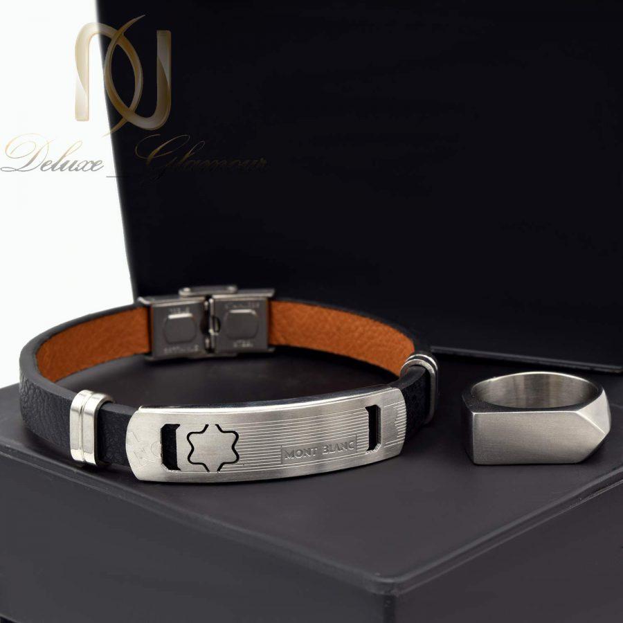 ست دستبند و انگشتر مردانه اسپرت ns-n518 از نمای مشکی