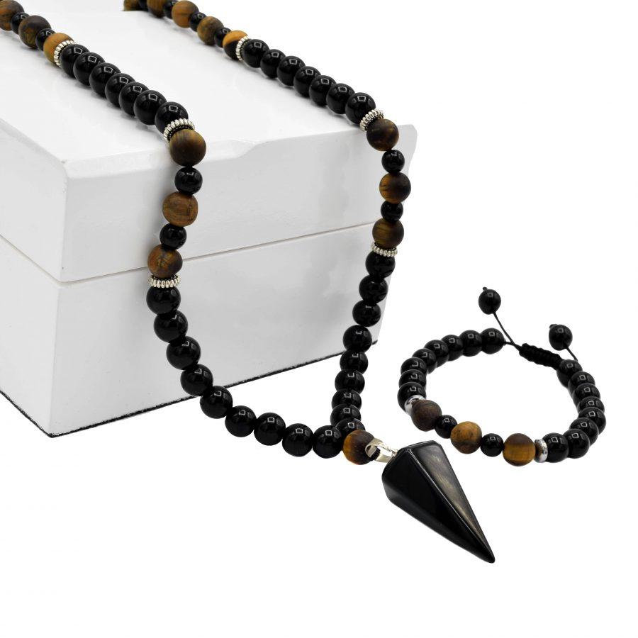 ست دستبند و گردنبند مردانه سنگی ns-n514 از نمای روبرو